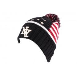 Bonnet Pompon NY noir drapeau US
