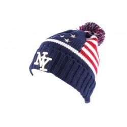 Bonnet pompon NY bleu drapeau US