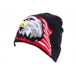 Bonnet Biker Noir avec aigle et drapeau