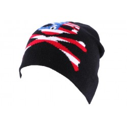 Bonnet Biker Noir avec tête de mort façon US