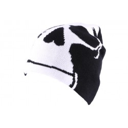 Bonnet Biker Noir avec tête de mort blanche