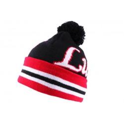 Bonnet Luck Noir Blanc et Rouge avec pompon