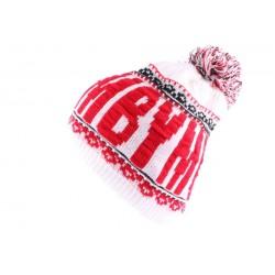 Bonnet YMCMB Blanc et Rouge avec pompon