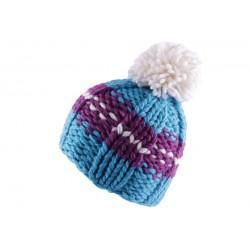Bonnet à pompon Degel Bleu et Violet