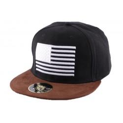 Snapback Noire avec drapeau US visière marron