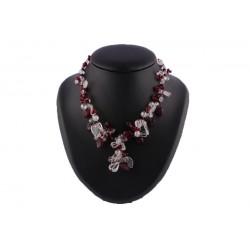 Collier Laelle en perles Bordeaux et Cristal