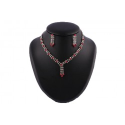 Collier Macha Perles Bordeaux et strass