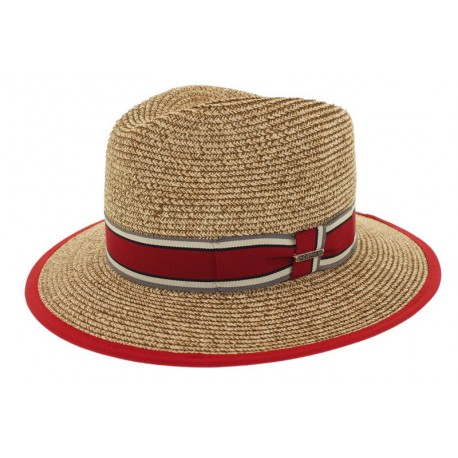 Chapeau de paille Edwardo naturel/rouge