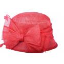 Chapeau cérémonie Rosy en sisal Rouge