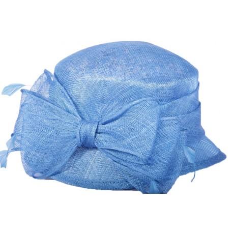 Chapeau cérémonie Rosy en sisal Bleu