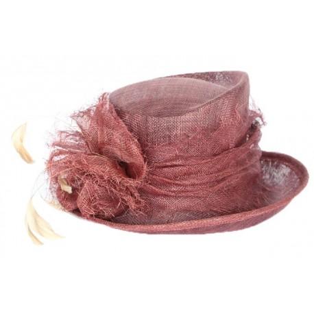 Chapeau cérémonie Talisa en sisal prune