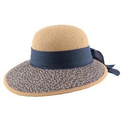Chapeau en paille Amiata en Raphia Naturel et bleu
