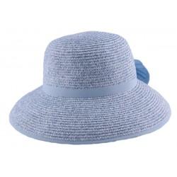 Chapeau paille Ischia en chiné Bleu ciel et Blanc
