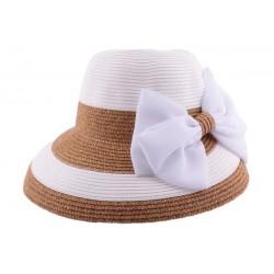 Chapeau paille Vésuve en mottled blanc et naturel