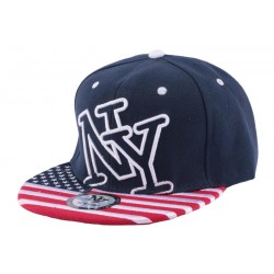Snapback NY bleu avec drapeau USA
