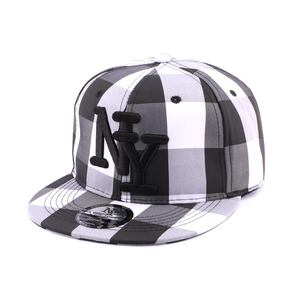 snapback ny noire et blanche casquette streetwear carreaux sur. Black Bedroom Furniture Sets. Home Design Ideas