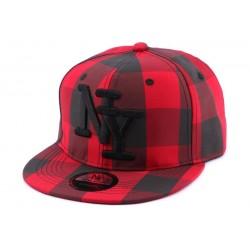 Snapback NY Carreaux Rouge et Noir