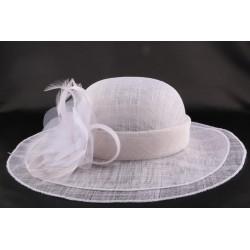 Chapeau Mariage Adjalin en sisal blanchi
