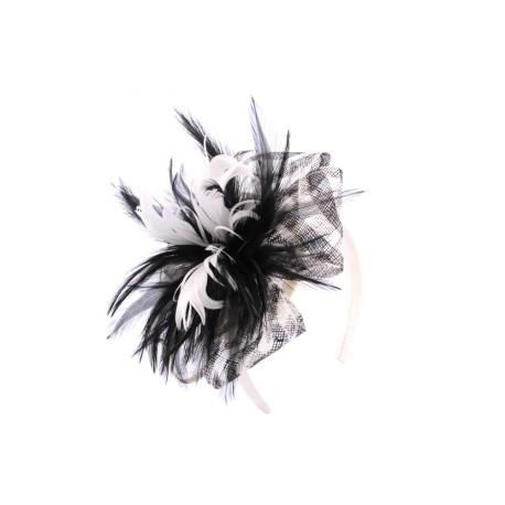 Coiffe Cérémonie Bawoo en sisal Noir et Ecru