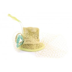 Coiffe Mariage Bugle en sisal Anis