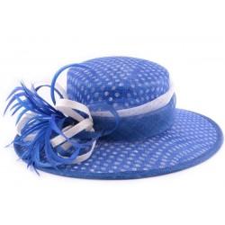 Chapeau Mariage Claridge bleu à pois blancs en sisal