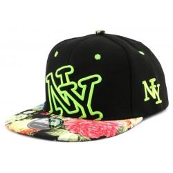 Snapback NY Noire avec visière florale