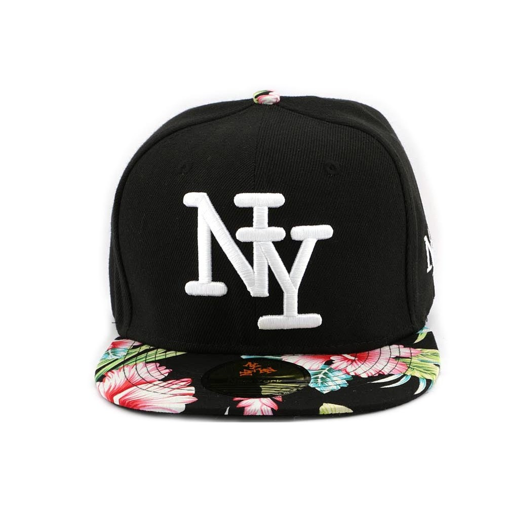 snapback enfant new york noire fleurie rose snapback mode pour les 7 12 ans avec chapellerie. Black Bedroom Furniture Sets. Home Design Ideas