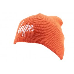 Bonnet à Revers Hype Script Orange et Blanc BONNETS HYPE