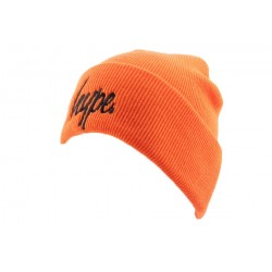 Bonnet à Revers Hype Script Orange et Noir BONNETS HYPE
