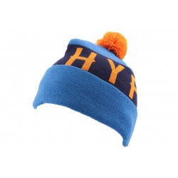 Bonnet à Pompon Hype Bleu et Orange