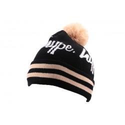 Bonnet à Pompon Hype Noir et Beige BONNETS HYPE
