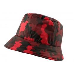 Chapeau Pluie Nyls Création Claire Camouflage Rouge CHAPEAUX Nyls Création