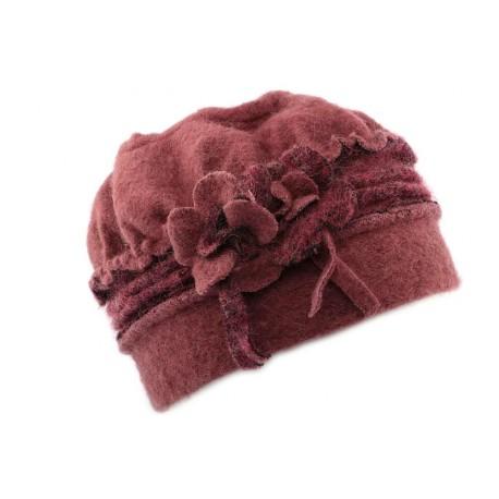 Toque femme en laine bouillie en coloris rose CHAPEAUX Léon montane