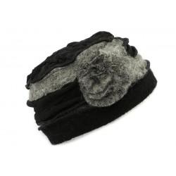 Toque en laine bouillie Léna Léon Montane Noire et Gris ANCIENNES COLLECTIONS divers