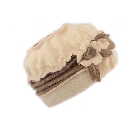 Toque en laine bouillie Olga Léon Montane Beige et Marron CHAPEAUX Léon montane