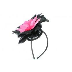 Coiffe cérémonie Alcée en plume rose et noir ANCIENNES COLLECTIONS divers