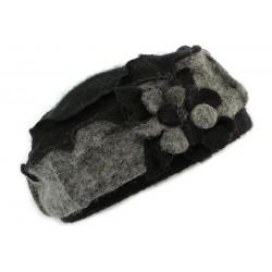 Toque femme en laine bouillie en coloris Noir et Gris