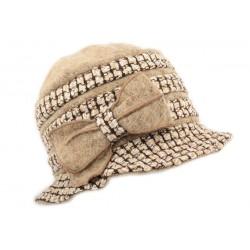 Chapeau Carla Léon Montane laine bouillie Marron Clair et Camel CHAPEAUX Léon montane