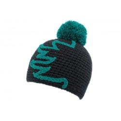 Bonnet à pompon Race Nyls Création Marine et Turquoise