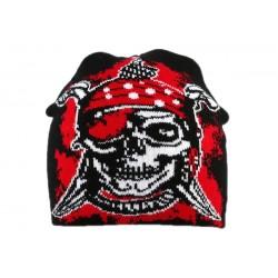 Bonnet Biker avec pirate Noir et Rouge BONNETS divers