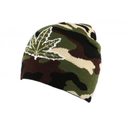 Bonnet Biker Camouflage avec feuille