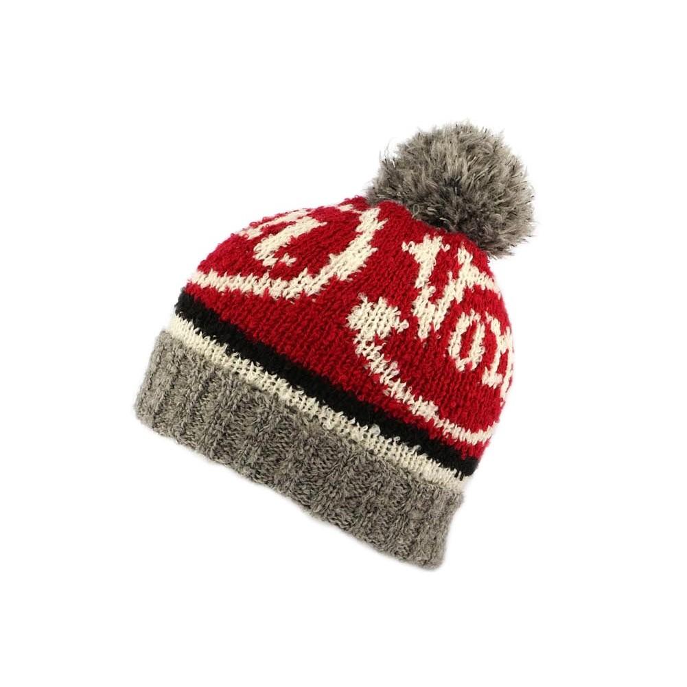 bonnet pompon rouge et gris von dutch hatshowroom site headwear. Black Bedroom Furniture Sets. Home Design Ideas