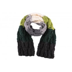 Echarpe en laine Snow Gris Vert Blanc