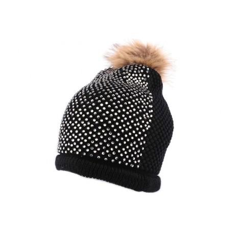 bonnet pompon noir avec strass boutique headwear hatshowroom. Black Bedroom Furniture Sets. Home Design Ideas