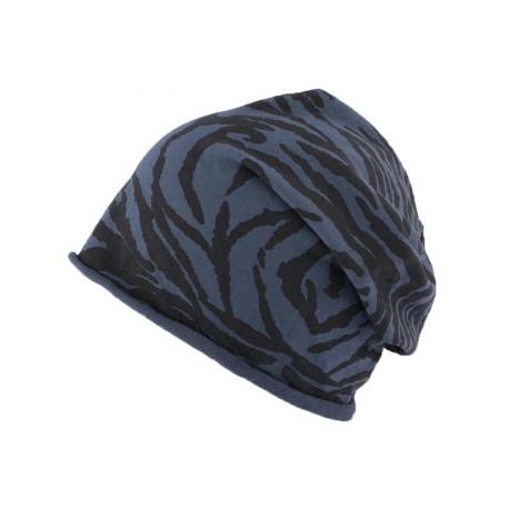 Bonnet Overside Panthère noir et bleu JBB Couture