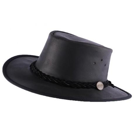 Chapeau Cuir Noir Brady Oil par Barmah Hats ANCIENNES COLLECTIONS divers