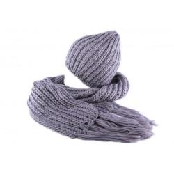 Bonnet et écharpe Grise Rita par Nyls Création