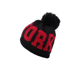Bonnet Pompon Noir et Rouge New York BONNETS Hip Hop Honour