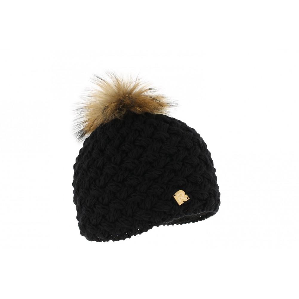bonnet noir pompon fourrure achat bonnet laine r mountain livr 48h. Black Bedroom Furniture Sets. Home Design Ideas