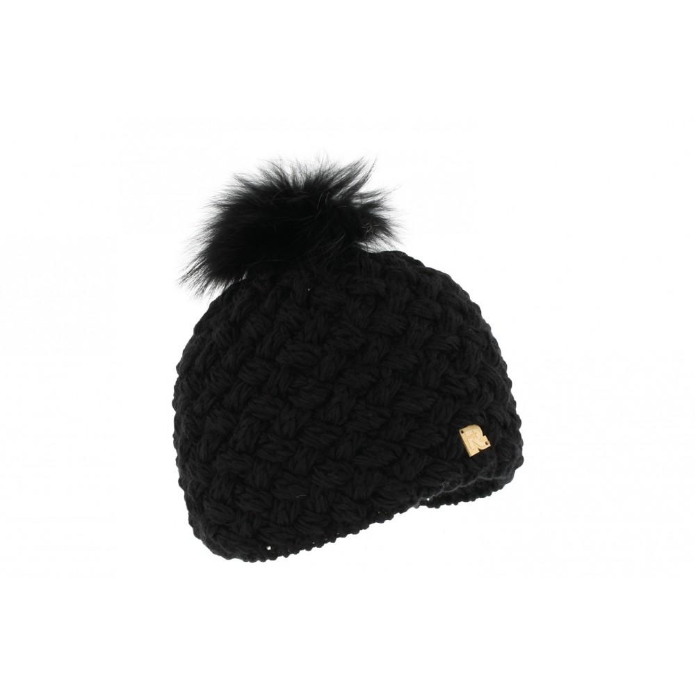bonnet noir pompon fourrure renard bonnet laine doubl livraison 48h. Black Bedroom Furniture Sets. Home Design Ideas